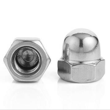 Гайка колпачковая латунная никелированная MMG DIN 1587  M4  100 шт