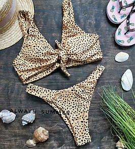 Леопардовый женский купальник с завязкой на груди