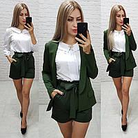 Жіночі шорти з поясом, арт. 191, колір зелений хакі / зеленого кольору