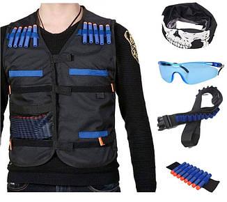 Боевой набор для игр с оружием Nerf (набор 2): жилет, бафф, очки, 20 пуль, напульсник, патронташ