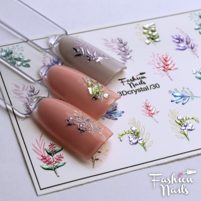 Хрустальные наклейки на ногти ( Хрустальный слайдер-дизайн 3D ) - Цветы Веточки Бутончики