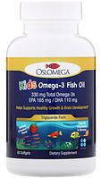 Oslomega, норвежская серия, рыбий жир с омега-3 для детей, натуральный клубничный вкус, 60 рыбно-желатиновых к