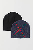 Детская черная двухслойная шапочка для мальчика