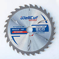 Диск пильний по дереву для циркулярної і пили торцювання 180х22.23 WellCut Standard 30Т