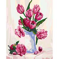 """Картина по номерам. Цветы, тюльпаны """"Нежность в вазе"""" 40х50см БЕСПЛАТНАЯ ДОСТАВКА """"Justin"""""""