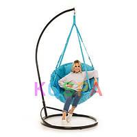 Подвесное Кресло качеля-гамак с подставкой Kospa Голубая (120 кг)