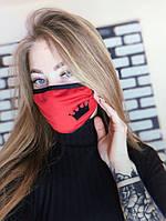Маска для жіноча особи тканинна, червоний, оливковий/бірюзовий/чорний кольору, серія fashion wear, Корона принт