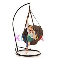 Подвесное Кресло качеля-гамак с подставкой Kospa Коричневая (150 кг)