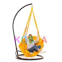 Подвесное Кресло качеля-гамак с подставкой Kospa Желтая (150 кг)