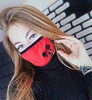 Маска для жіноча особи тканинна, червоний, оливковий/бірюзовий/чорний кольори, принт Міккі Маус
