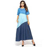 Платье женское длинное  джинсовое большого размера