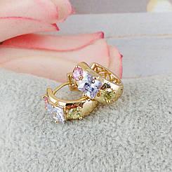 Серьги кольца Xuping Jewelry Дарина медицинское золото, позолота 18К А/В 5273