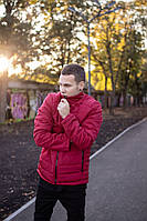 Мужская теплая красная куртка  (Весна - Осень)