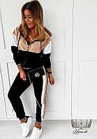 Женский прогулочный спортивный костюм из двухнитки куртка + штаны, фото 1
