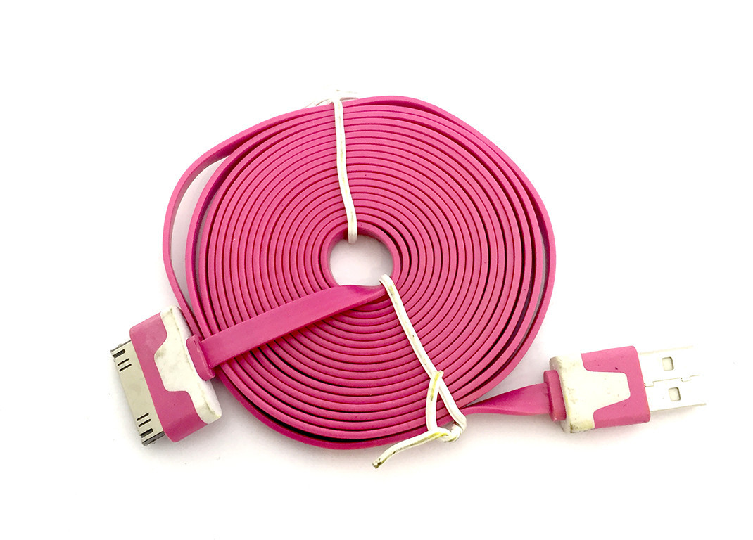 Дата кабель FLAT iPhone 4 2m Pink (тех. упаковка)