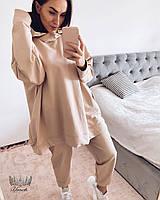 Женский стильный спортивный костюм из двухнитки с удлиненной кофтой, фото 1
