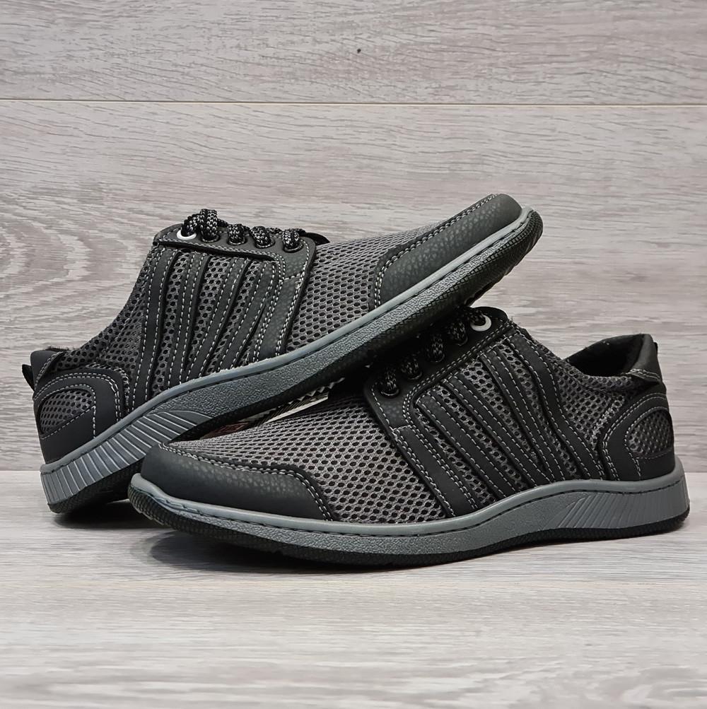 40 р. Чоловічі літні кросівки сірого кольору на шнурівку (Сгс-81ср)