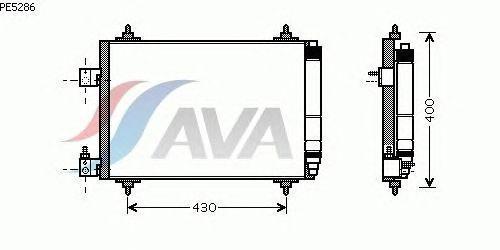 Радиатор кондиционера Peugeot 407 2004- AVA PE5286