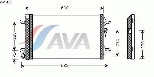 Радиатор кондиционера VW Sharan 1997- AVA VW5183