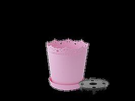 """Вазон """"Ришелье"""" подст.- дрен. 13см. (розовый)"""