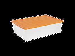 Емкость для хранения вещей с крышкой 22л. (светло-оранж.)