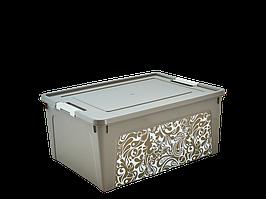 "Контейнер ""Smart Box"" с декором Home 7,9л. (_какао/б.роза)"