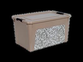 """Контейнер """"Smart Box"""" с декором Home 27л. (кремовый)"""