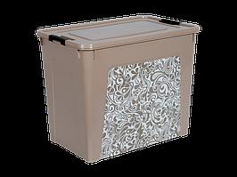 """Контейнер """"Smart Box"""" с декором Home 40л. (кремовый)"""