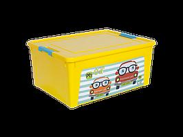 """Контейнер """"Smart Box"""" с декором My Car  7,9л. (_т.жёлт./т.жёлт./бирюз.)"""