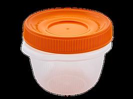 """Контейнер для харчових продуктів """"Омега"""" круглий 0,285 л. (_пр./св.-оранж.)"""