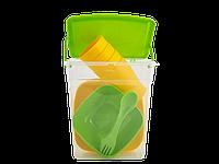 """Набор пластиковой посуды для пикника """"Подарочный""""  Алеана (оливковый /темно жёлтый)"""