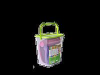 """Набор пластиковой посуды для пикника """"Подарочный"""" Алеана (темно-розовый/темно-сиреневый)"""