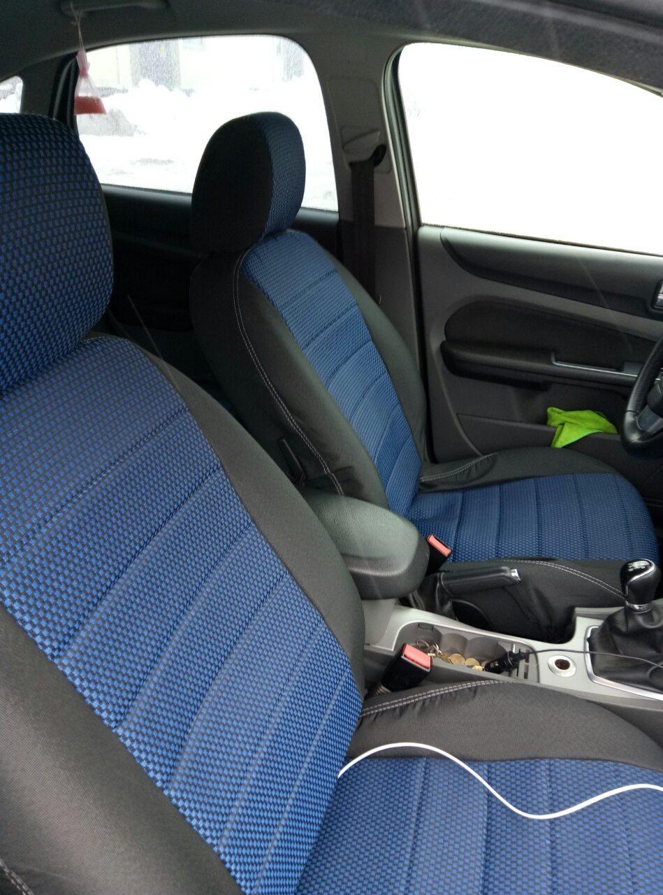 Чохли на сидіння Форд Транзит (Ford Transit) 1+1 (модельні, автоткань, окремий підголовник, логотип)