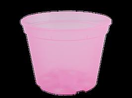 Вазон дренажный 14,0*10,5см. (розовый прозрачный)