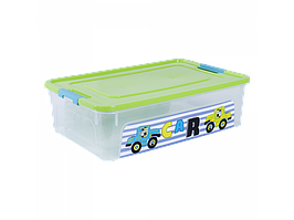 """Контейнер """"Smart Box"""" с декором My Car 14л. (_пр./оливк./бирюз.)"""