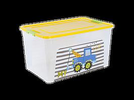 """Контейнер """"Smart Box"""" с декором My Car 27л. (_пр./т.жёлт./оливк.)"""