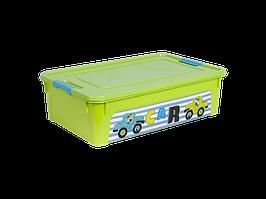 """Контейнер """"Smart Box"""" с декором My Car 14л. (_оливк./оливк./бирюз.)"""