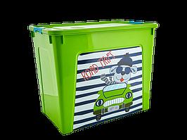 """Контейнер """"Smart Box"""" с декором My Car 40л. (_оливк./оливк./бирюз.)"""