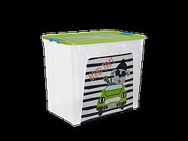 """Контейнер """"Smart Box"""" с декором My Car 40л. (_пр./оливк./бирюз.)"""
