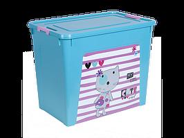 "Контейнер ""Smart Box"" с декором Pet Shop 40л. (_бирюз./бирюз./роз.)"