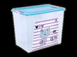 "Контейнер ""Smart Box"" с декором Pet Shop 40л. (_пр./бирюз./роз.)"