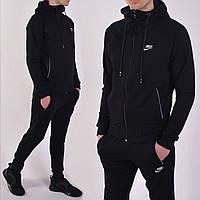 Размеры: 46/48/50/52. Черный мужской спортивный костюм Nike (Найк) с капюшоном, брюки на манжетах