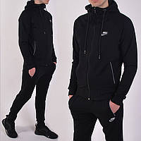 Размеры: 46/48/52. Черный мужской спортивный костюм с капюшоном, брюки на манжетах