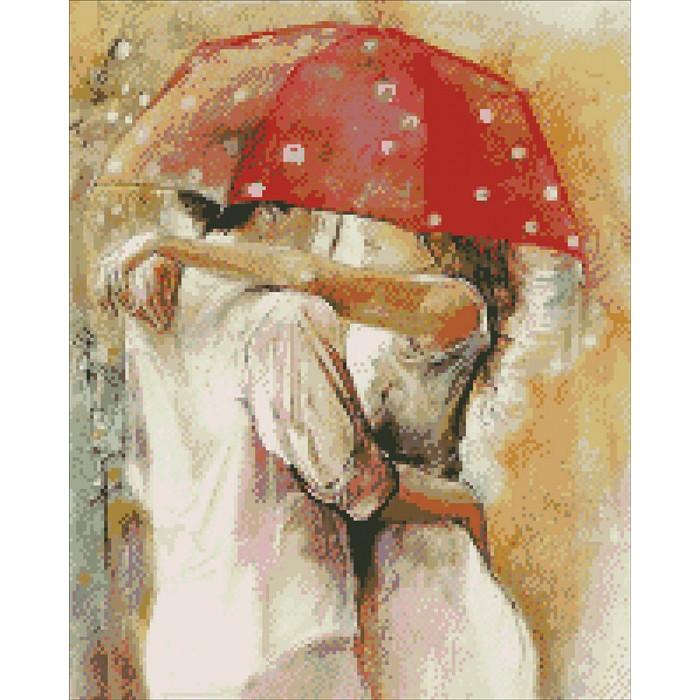 """Алмазная вышивка (мозаика)  """"Пара под зонтиком"""" 40*50 см  AM1003"""