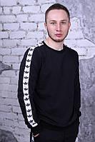 Свитшот чёрный с белыми лампасами Adidas, фото 1