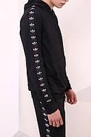Худи чёрный с чёрно-белыми лампасами Adidas, фото 1