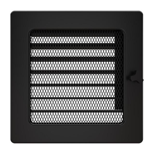 Вентиляційна решітка для каміна SAVEN 17х17 чорна з жалюзі