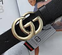 Женский ремень Gucci пряжка золото черный, фото 1