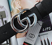 Женский ремень Gucci пряжка серебро черный, фото 1