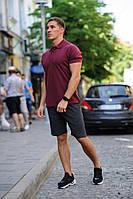 Комплект - темно-серые шорты и бордовая футболка поло, фото 1